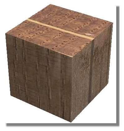 Figure 18. Reconstitution tridimensionnelle d'un cube de bois de chêne de 1 cm de côté réalisé à partir des macrophotographies des 3 types de sections d'un même échantillon (transversale en haut, radiale à gauche et tangentielle à droite). © Photo R. Prat