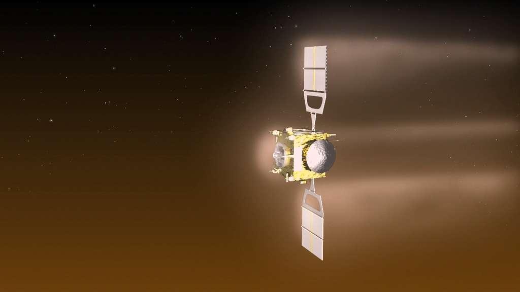Illustration de Venus Express au cours de sa manœuvre de freinage atmosphérique qui s'est déroulée à environ 130 km d'altitude entre le 18 juin et le 11 juillet 2014. © Esa, C. Carreau