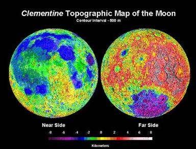 La sonde Clementine a détecté des indices de la présence de glace dans les régions polaires ! Voici une carte topographique de la Lune par cette sonde américaine. © Nasa
