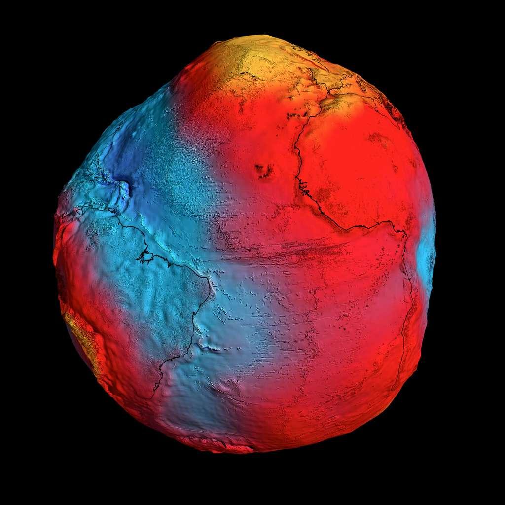 Tracée à partir des données fournies par le satellite Goce, cette carte du géoïde terrestre est la plus précise à ce jour (valeurs de la gravité les plus fortes en jaune, les plus faibles en bleu). © Esa, HDF, DLR