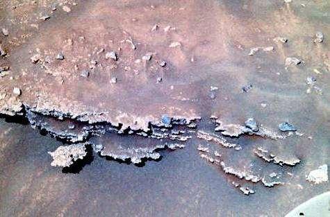 Détail d'une rocher stratifié situé à proximité de Spirit, dans les Columbia Hills
