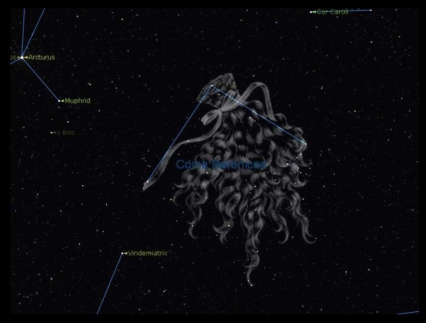 La discrète constellation de la chevelure de Bérénice compte quelques étoiles assez peu lumineuses qui évoquent la coiffure d'une ancienne reine d'Égypte. © DR
