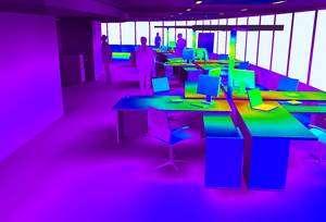 Cliquer pour agrandir. L'informatique et le comportement des usagers sont la principale cause de dépassement de la consommation énergétique, malgré le recours aux ordinateurs portables, plus économes et à la lumière naturelle (75% de la surface verticale du bâtiment est vitrée). © Elithis
