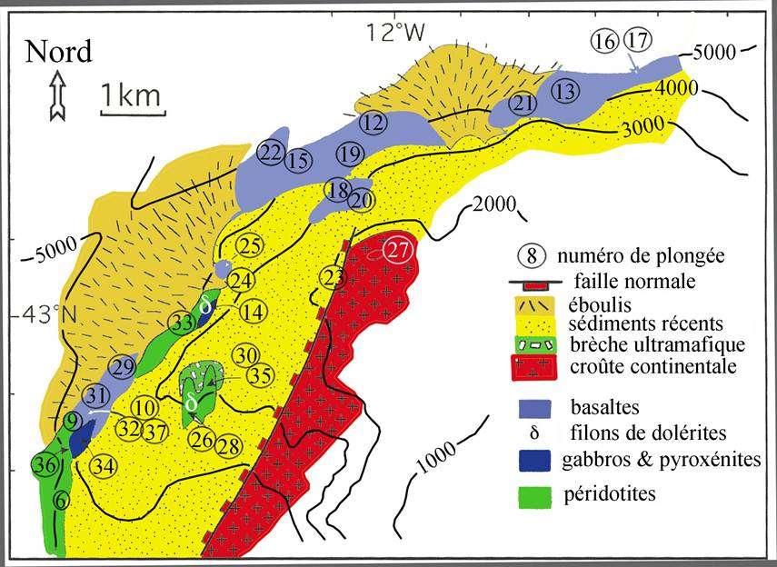 Ci-dessus, une carte géologique de la ride, au nord-ouest du banc de Galice. © D'après Kornprobst et al., 2007