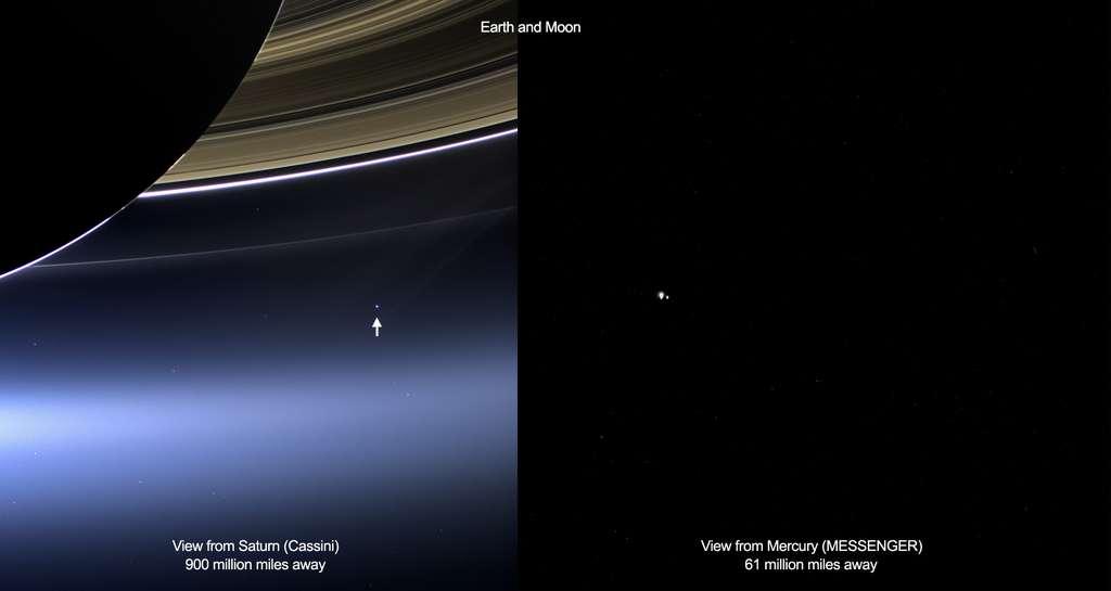 À gauche, l'image non résolue du système Terre-Lune réalisée par Cassini, et à droite, celle résolue prise par Messenger. Cassini a pu prendre cette image parce que le soleil était temporairement derrière Saturne. Sur l'image de Messenger, la Terre et la Lune mesurent chacune moins d'un pixel en réalité, mais semblent très grandes parce qu'elles sont surexposées. Une longue exposition est nécessaire pour capter autant de lumière que possible à partir d'objets potentiellement peu lumineux. Par conséquent, les objets dans le champ de vision deviennent saturés, et apparaissent artificiellement grands. © Nasa, JPL-Caltech, Space Science Institute, Johns Hopkins University Applied Physics Laboratory, Carnegie Institution of Washington