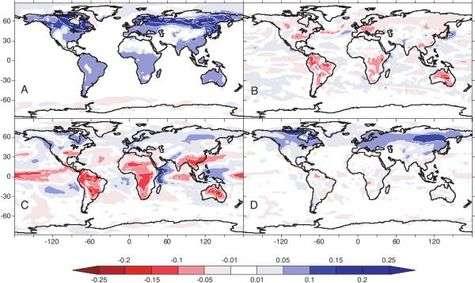 Résultats de simulations de la différence entre une déforestation globale et le cas standard (sans déforestation globale) pour 2100. Aux hautes et moyennes latitudes dans l'hémisphère nord, l'effet albédo (A) domine le changement de climat et produit un fort refroidissement dans le modèle global par rapport au modèle standard. Dans les tropiques, par contre, la déforestation augmente l'albédo de surface (A) mais diminue l'évapotranspiration (B), ce qui a pour conséquence de réduire la nébulosité (C). S'ensuit alors une diminution de l'albédo planétaire (D) (vu depuis le sommet de l'atmosphère) qui contrebalance en grande partie les effets dus à l'augmentation de l'albédo de surface. Crédits : PNAS