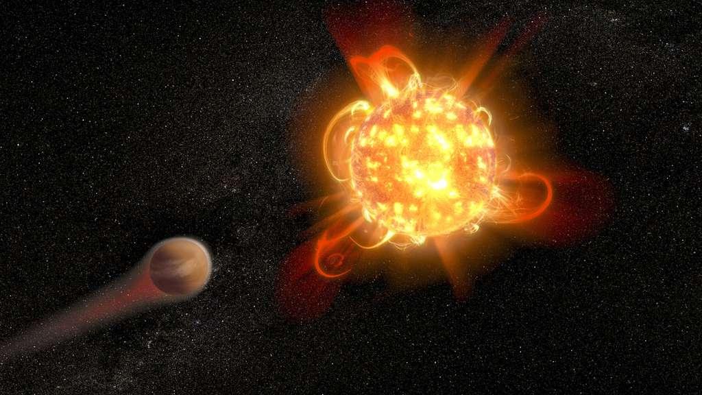 Les violentes explosions de plasma bouillonnant de jeunes étoiles naines rouges peuvent rendre les conditions inhabitables sur les planètes naissantes. Dans le rendu de cet artiste, une jeune naine rouge active (à droite) dépouille l'atmosphère d'une planète en orbite (à gauche). Les scientifiques ont découvert que les éruptions des plus jeunes naines rouges qu'ils ont étudiées – âgées d'environ 40 millions d'années – sont 100 à 1.000 fois plus énergétiques que lorsque les étoiles sont plus âgées. Ils ont également détecté l'une des éruptions stellaires les plus intenses jamais observées dans la lumière ultraviolette – plus énergique que l'éruption la plus puissante jamais enregistrée pour notre Soleil. © Nasa, ESA and D. Player (STScI)
