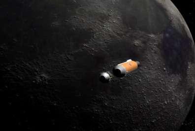 Le LCROSS en approche de la Lune... (Crédits : NASA/John Frassanito and Associates)