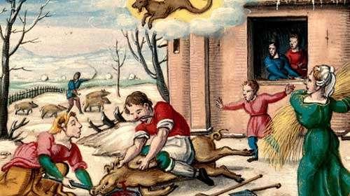 Boucherie du cochon dont on salait une partie pour l'hiver