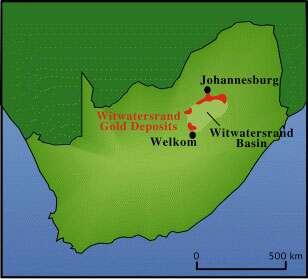 Witwatersrand en Afrique du Sud.
