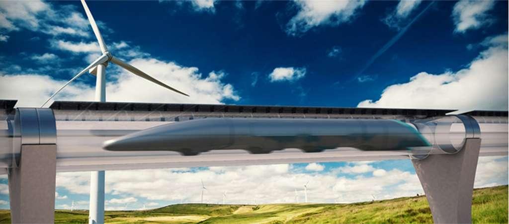 Voici à quoi pourrait ressembler un Hyperloop tel qu'imaginé par la société Hyperloop Transportation Technologies. La première ligne commerciale pourrait ouvrir dès 2020. © Hyperloop Transportation Technologies