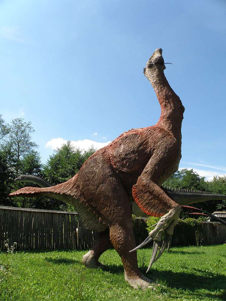 Le Therizinosaurus, qui vivait à la fin du Crétacé, avait une allure bien étrange… © Alina Zienowicz, Wikipédia, cc by sa 3.0