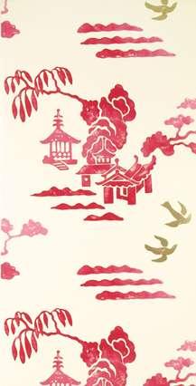 Papier bicolore d'inspiration japonaise, imprimé machine à la façon des toiles de Jouy. Lavable, à raccord non précisé. Pose d'un papier support recommandé. En rouleau de 0,52 x 10,05 m (61 €). Référence Tokyo Dahlia, collection Oriental garden. © Designers Guild