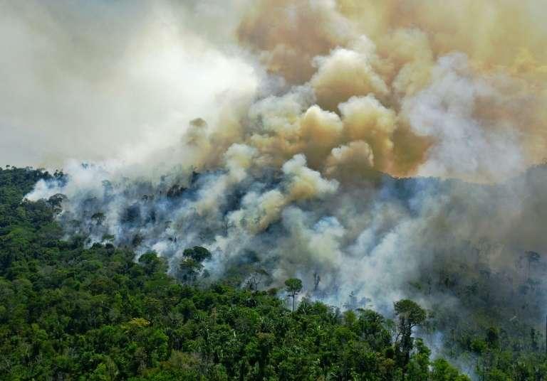 Une vue aérienne d'un feu de forêt en Amazonie brésilienne au sud de Novo Progresso au Brésil, le août 2020. © Carl De Souza, AFP