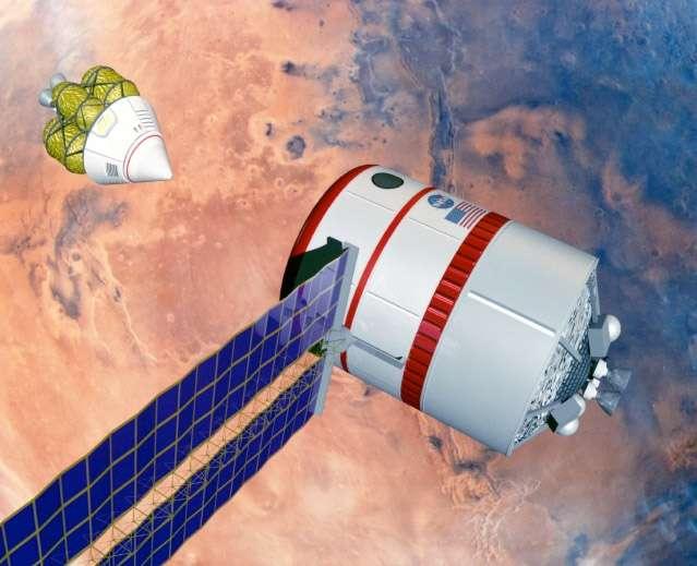 Vue d'artiste de 1994 montrant un MAV rejoignant un véhicule spatial en orbite martienne. Pour Zubrin, la capsule Dragon du voyage aller serait utilisée comme habitat sur Mars. L'exploration de la planète se ferait à l'aide d'un véhicule tout terrain. © Nasa/Johnson Space Center