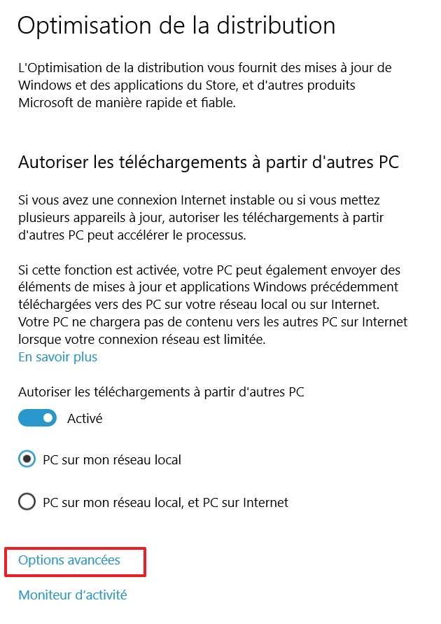 Les « Options avancées » sont accessibles en bas de la page. © Microsoft