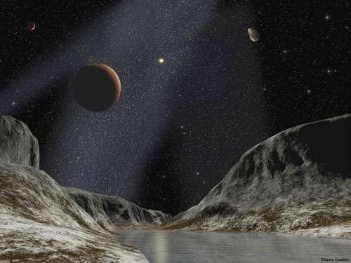 Le but de la sonde New Horizons est notamment l'étude de Pluton et de Charon. Ici, une illustration de la planète naine et de son satellite, avec le Soleil, minuscule, pour éclairer la scène. © Dessin réalisé en exclusivité pour Futura-Sciences par Thierry Lombry - Toute reproduction et exploitation interdites