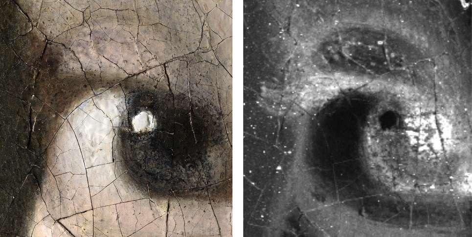 À gauche : micrographie numérique 3D de l'œil droit de la jeune fille, grossissement 140x (1,1 μm / pixel). © Hirox Europe, Jyfel. À droite : l'analyse par fluorescence macro-X (MA-XRF) montre que le peintre Vermeer a peint des cils avec une peinture brune. Le bout du cil est à peine visible sur le fond sombre décoloré. © Annelies van Loon, Mauritshuis, Rijksmuseum