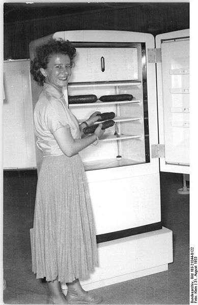 Dans les années 1950, le réfrigérateur a déjà sa place chez les particuliers. © Deutsches Bundesarchiv, Wikimedia, CC by-sa 3.0