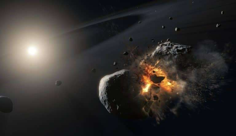 Vue d'artiste de la collision autour de l'étoile Fomalhaut © ESA, Nasa, M. Kornmesser