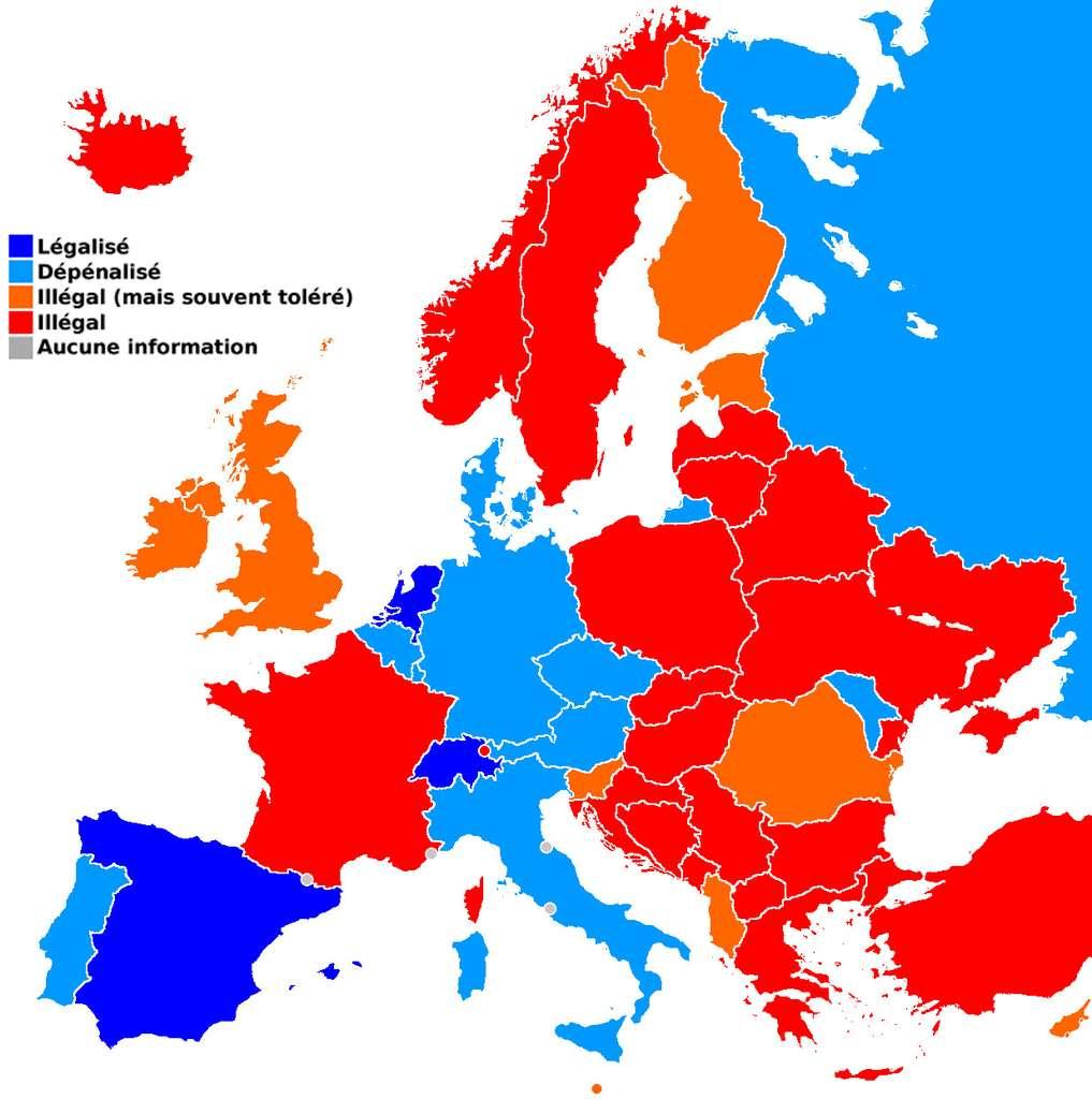Législation du cannabis thérapeutique en Europe (2006). Le cannabis médical est principalement destiné à soulager les effets secondaires de certaines maladies comme la sclérose en plaques. © Henry Salomé, Wikimedia Commons, cc by sa 3.0