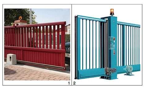 Les portails coulissants peuvent également profiter de la domotique. Les deux modèles sont présentés en détail dans la liste numérotée, ci-dessous. © DR