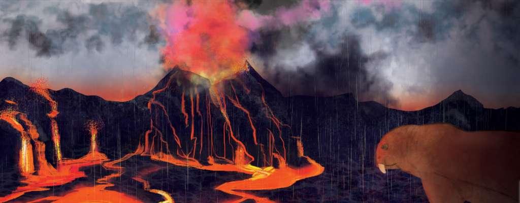 L'extinction massive du Permien-Trias il y a 252 millions d'années s'inscrit comme la plus grande catastrophe biologique de notre planète. Le volcanisme à l'origine de la formation des trapps de Sibérie est accusé d'avoir mis le feu aux poudres. © Illustration/Margaret Weiner/UC Creative Services