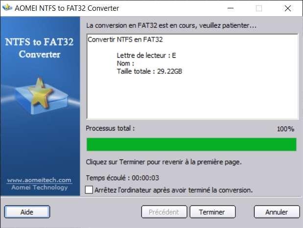 La conversion du format de fichiers NTFS en FAT32 n'a duré que 3 secondes. © AOMEI