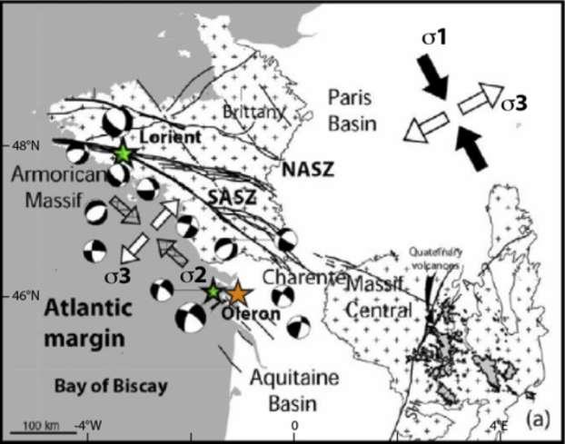L'ouest de la France est dominé par une compression horizontale nord-ouest, sud-ouest et une extension horizontale nord-est, sud-ouest. Le mécanisme au foyer du séisme du 28 avril 2016 (étoile orange) est compatible avec ce système de contraintes. © CNRS, modifié d'après Mazabraud et al. (2013)