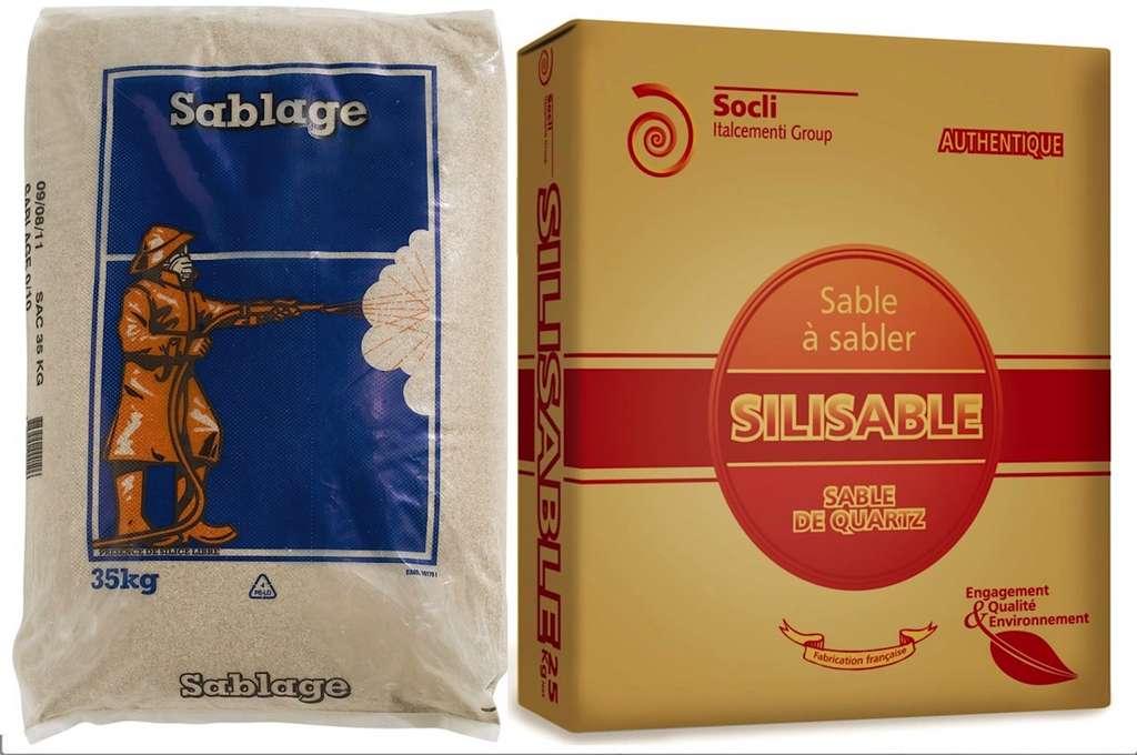 Le sable abrasif est disponible en sacs de 25 à 35 kg. On peut aussi l'acheter en vrac ou se le faire livrer en « big bag ». © Point P (marques Sablières de la Perche et Socli)