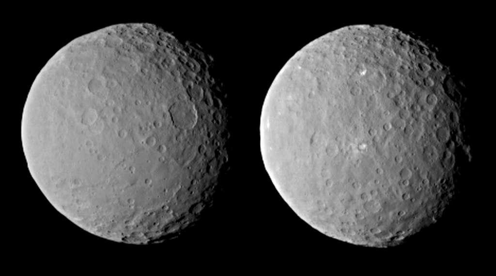Deux faces de Cérès photographiées lors d'une rotation complète de la planète naine (environ 9 heures), le 19 février à quelque 46.000 km de la surface. La visite de cet astre de 950 km de diamètre par la sonde spatiale Dawn s'annonce passionnante. © Nasa, JPL-Caltech, Ucla, MPS, DLR, IDA
