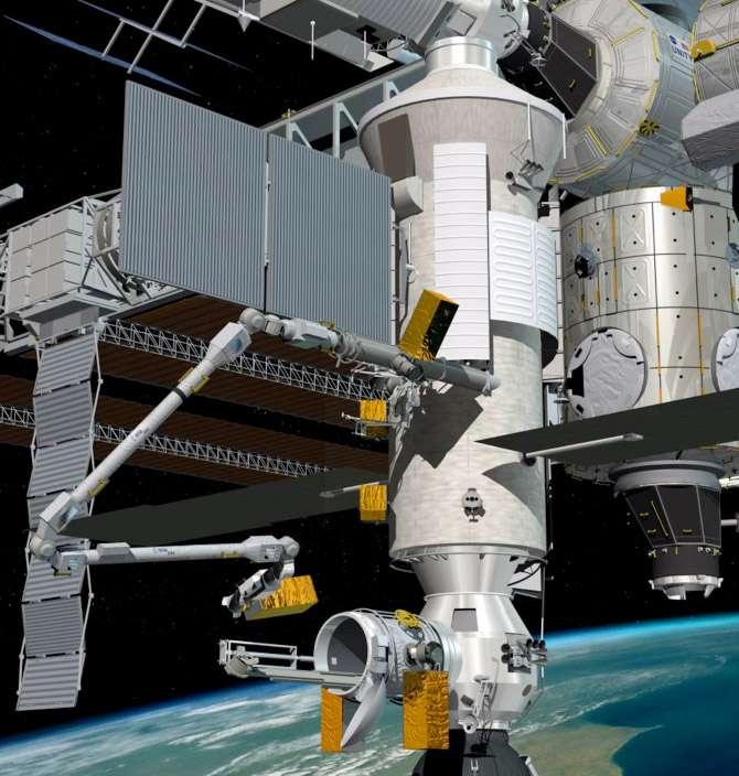 Le bras robotique Era facilitera le travail des astronautes à bord de l'ISS. Il sera capable d'effectuer des tâches auparavant dévolues aux Hommes, comme sortir du sas du matériel, ou des expériences pour les entreposer à l'extérieur de la station. © D. Ducros, Esa