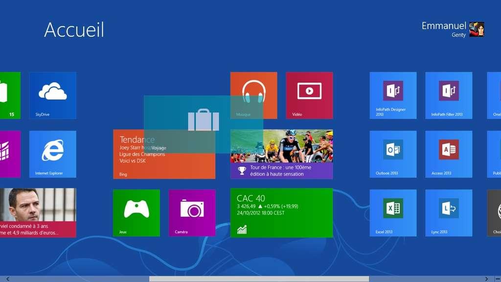 Les différentes tuiles qui composent l'écran de démarrage de Windows 8 peuvent être déplacées et réorganisées à la guise de l'utilisateur. © Eureka Presse