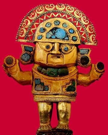 Couteau en or de culture Chimu, Peru, face.