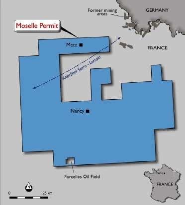 Le permis Moselle s'étend sur les 4 départements lorrains. © Elixir Petroleum