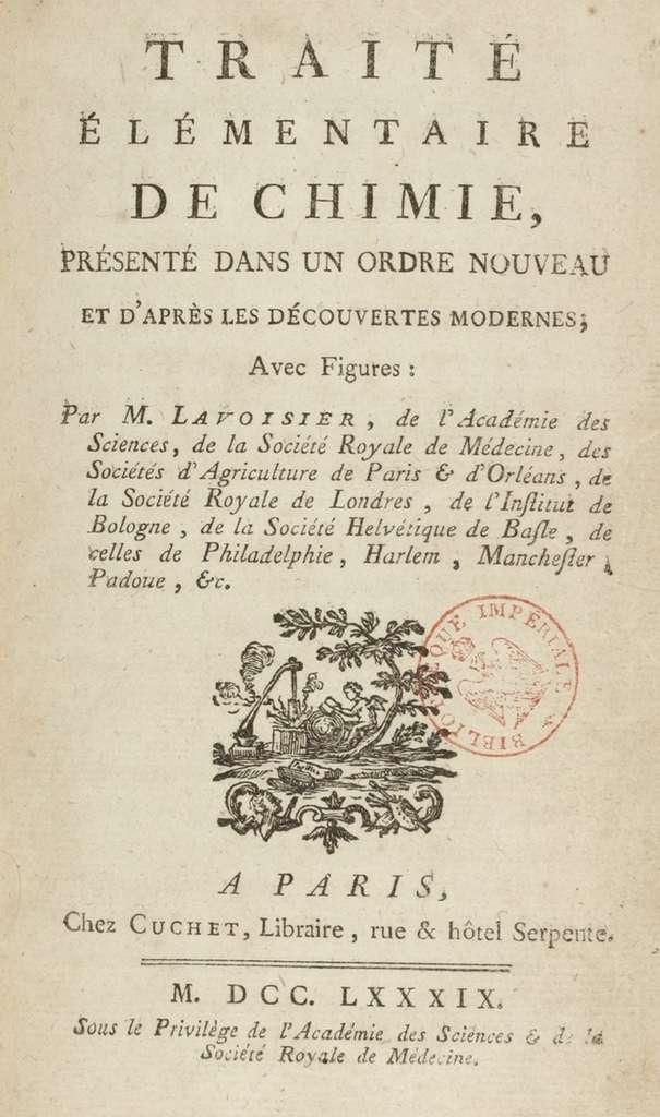 Page de présentation du Traité élémentaire de chimie paru en 1789. BnF. © gallica.bnf.fr/BnF