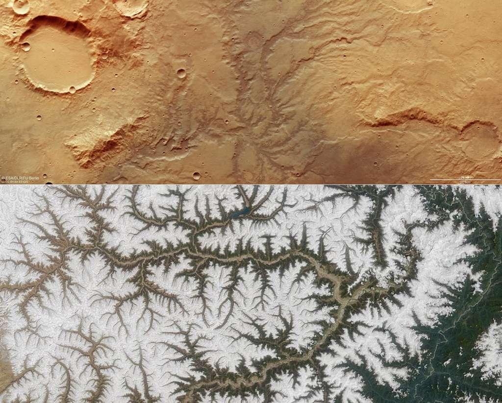 Comparaison entre un réseau de vallées observé dans l'hémisphère sud de la Planète rouge par Mars Express le 19 novembre 2018 (l'image est orientée avec le nord à droite au lieu d'en haut) et le fleuve Yarlung Tsangpo qui traverse le Tibet, observé par le satellite Terra. © ESA, DLR, FU Berlin, CC By-sa 3.0 IGO, Nasa, DP