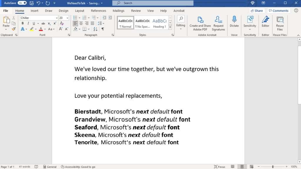 Pour remplacer Calibri, Microsoft présente cinq polices candidates. Ce sont les internautes qui vont s'exprimer pour choisir leur police préférée. © Microsoft