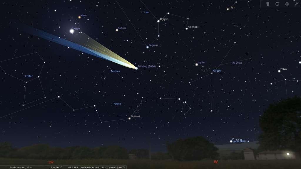 La comète de Halley vue de Londres le 6 mai 1066, simulée à Stellarium. © Morn, wikipedia commons, DP