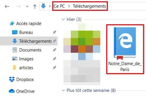 L'e-book est sauvegardé dans le dossier de téléchargement de votre navigateur. © Microsoft