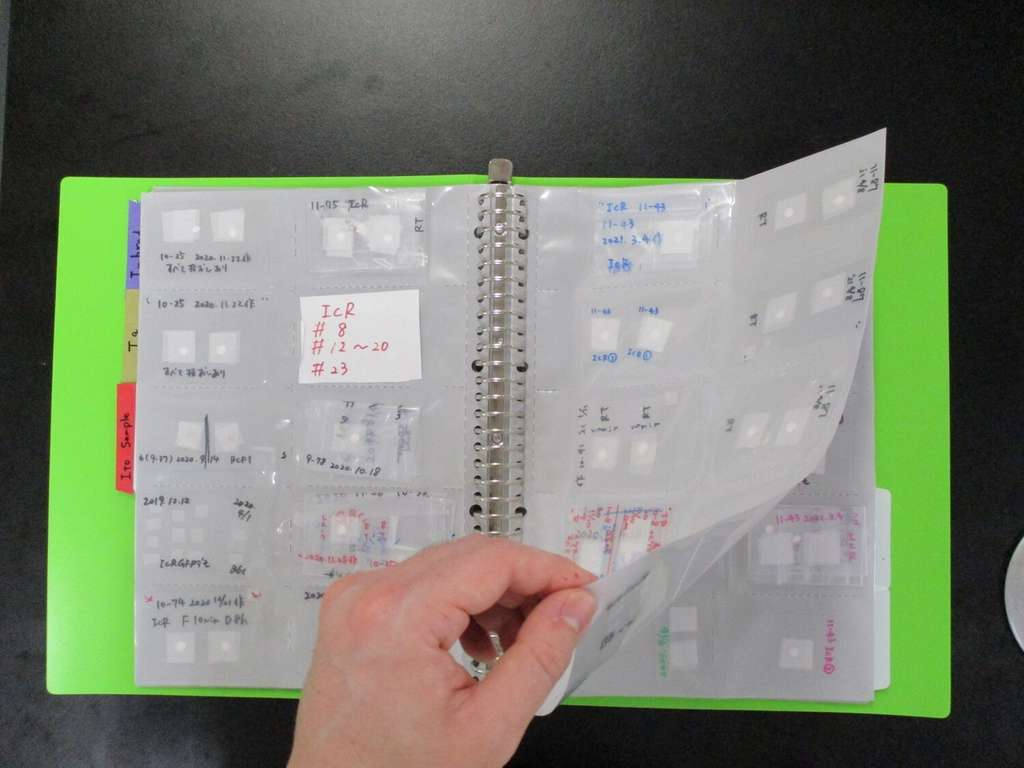 Le « livre de sperme » permet de stocker des milliers d'échantillons dans un simple classeur. © Daiyu Ito, université de Yamanashi