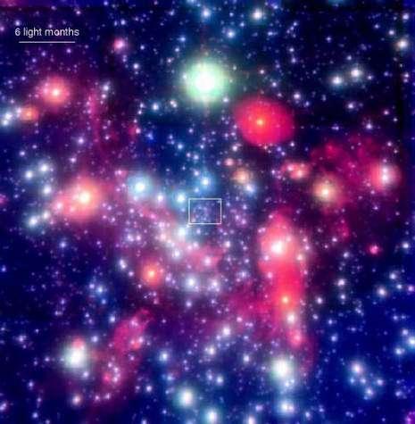 Image en fausses couleurs du centre de la Galaxie. Au centre de la boite se trouve le trou noir central (Crédits : Max-Planck-Institut für extraterrestrische Physik).