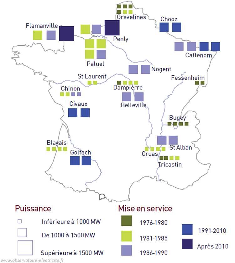 Carte de France des réacteurs et centrales nucléaires, en fonction de leur puissance et de leur date de mise en service. © centrales-france-observatoire-electricite.fr