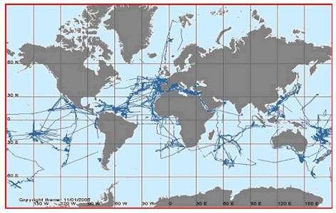 Localisation des campagnes de cartographie réalisées par les navires Ifremer depuis 1977 © Source Ifremer/Sismer, Banque nationale de données géophysiques Reproduction et utilisation interdites