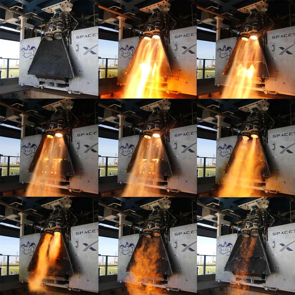 La certification du système de transport de SpaceX est en bonne voie. La société a récemment procédé avec la Nasa à un examen critique de conception qui a démontré que son système a atteint un niveau suffisant de maturité, ce qui lui ouvre la voie aux activités de construction, d'assemblage, d'intégration et de test. À l'image, l'essai des moteurs SuperDraco du Crew Dragon. Ils seront utilisés pour freiner la capsule lors de son retour sur Terre et dans une situation d'urgence pour éjecter la capsule du lanceur. © SpaceX