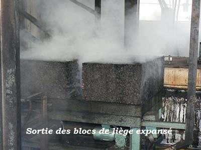 Sortie des blocs de liège expansé. © Aliécor