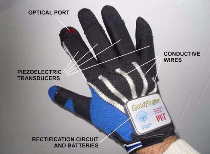 Le gant Goldfinger intègre ses composants électroniques dans le tissu. Des transducteurs piézoélectriques (piezolectric transducers) incorporés au niveau des doigts sont reliés par des fil conducteurs (conductive wires) au boîtier qui contient les redresseurs et la batterie (rectification circuit and batteries). Le contrôle des interfaces se fait via un émetteur Led (optical port). © Politecnico di Torino, MIT