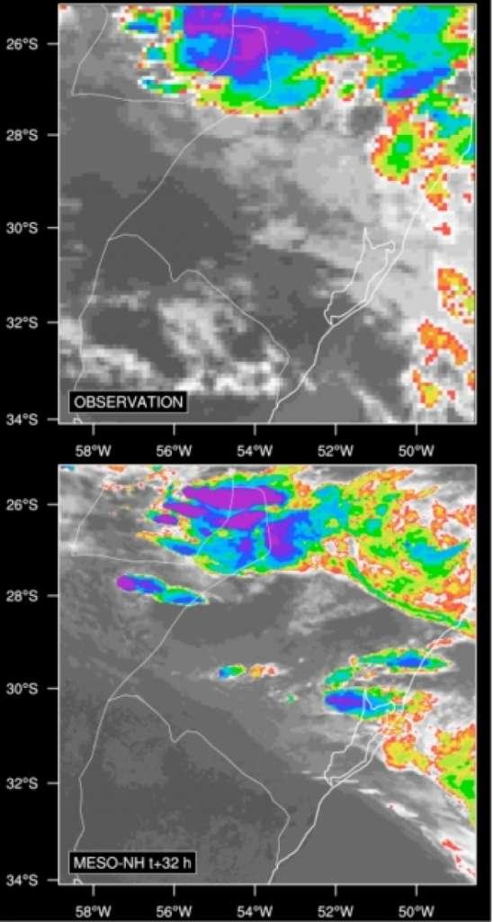 Couverture nuageuse vue par le satellite Meteosat (température de brillance en infrarouge, en haut) et par le modèle (en bas) montrant un système orageux à la frontière du Brésil, de l'Uruguay et de l'Argentine. © Meteosat, INPE, LA, OMP, UPS, CNRS
