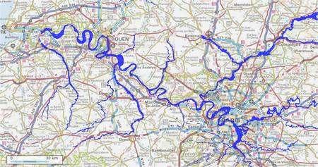 La Seine est ses affluents, en bleu, de la région parisienne, en bas à droite, jusqu'à l'embouchure, en haut à gauche. Cliquer sur l'image pour l'agrandir. On peut créer soi-même ce genre de vue sur Géoportail. © Géoportail / IGN