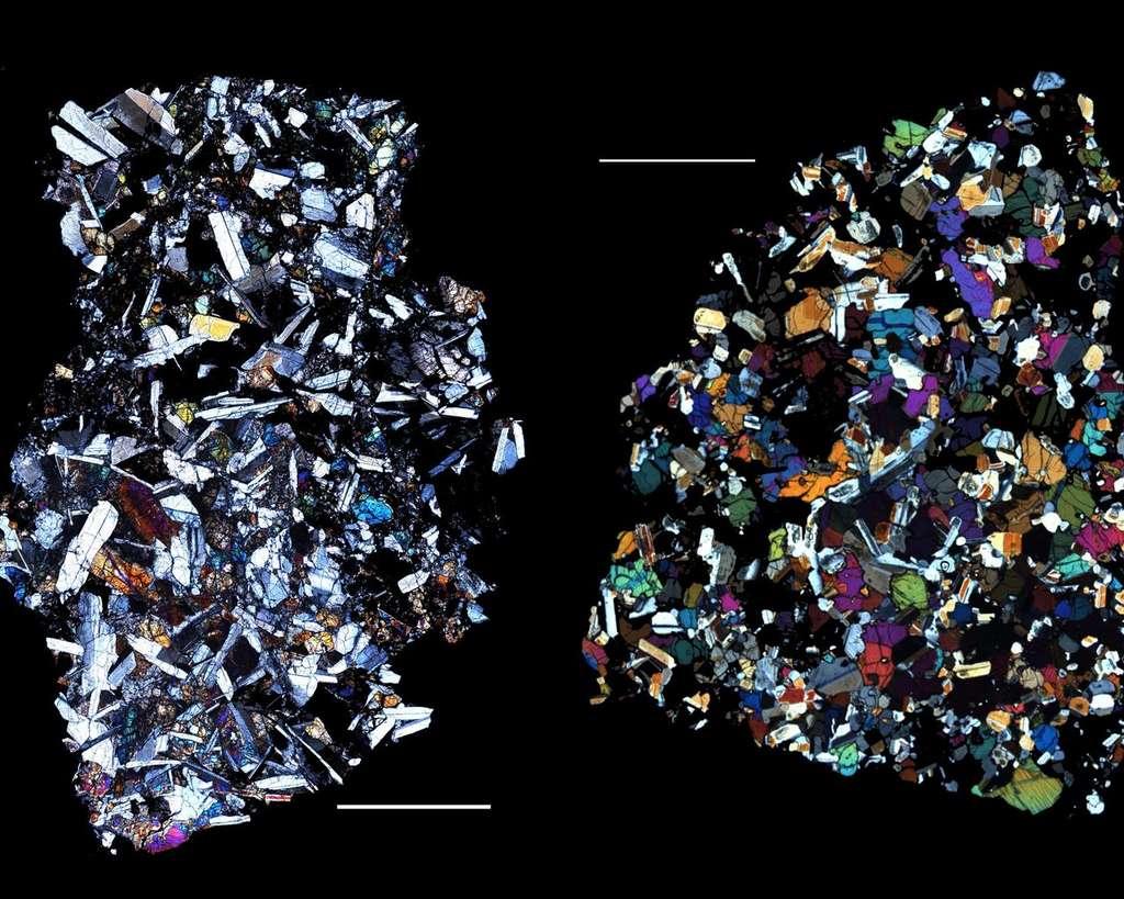 Les météorites HED (howardites-eucrites-diogénites) sont un grand groupe de météorites qui proviendraient de Vesta, une hypothèse qui est cohérente avec les observations actuelles de Dawn. Les eucrites sont des laves cristallisées qui ont la composition du basalte, le type de lave le plus courant sur Terre. Les eucrites QUE 97053 (à gauche) et EET 90020 (à droite), illustrées ici, ont été récupérées en Antarctique. Ces images sont de fines tranches de météorites vues au microscope polarisant. Les barres blanches des images, d'une longueur de 2,5 mm chacune, indiquent l'échelle. Lorsque la lumière polarisée passe à travers de fines tranches de roche, les minéraux ont des couleurs différentes. Des eucrites comme celles-ci représentent une partie de la surface de Vesta. Leurs compositions peuvent être comparées aux observations de divers instruments à bord de Dawn. © Nasa
